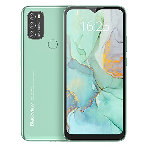 Cell Phone Unlocked Android 11 Blackview A70, 6.5'' HD+ Waterdrop Screen, 5380mAh Massive Battery, Cell Phone with Octa Core 3GB 32GB, 13MP+5MP, Dual SIM Smartphone 4G, Face Unlock&Fingerprint(Green)