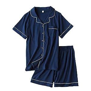 パジャマ 綿100% 半袖 短ズボン 上下セット 開襟シャツ風 前開き ポケット付き ルームウェア シンプル 吸汗 通気 快眠 肌触り良い 夏 部屋着 (ネイビー, L)