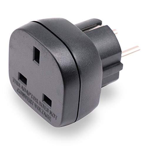 BS 8546 Zugelassen UK auf EU/DE Adapterstecker, 3-polig Elektronikgerät aus UK Adapter auf 2-polige EU-Steckdose/Deutschland Steckdose mit Sicherheitsverschluss (1 Stück Schwarz)