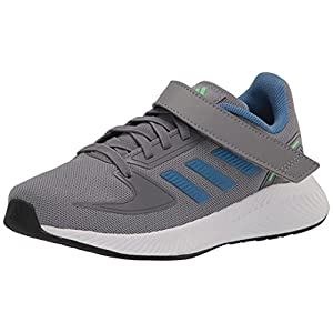 adidas Runfalcon 2.0 Running Shoe, Grey Heather/Focus Blue/Screaming Green, 1 US Unisex Little Kid