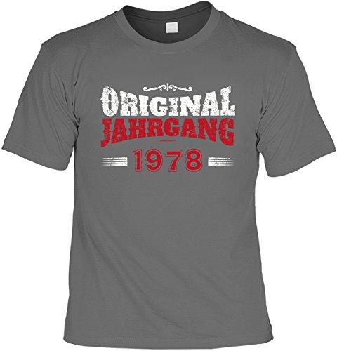 """Art & Detail Shirt - Camiseta divertida con texto en alemán """"Orignal Jahrgang 1978"""" antracita XL"""