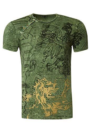 T-Shirt Herren All Over Print Verwaschen Adler Druck Rundhals mit Knopfleiste 229, Farbe:Khaki, Größe S-3XL:XXL
