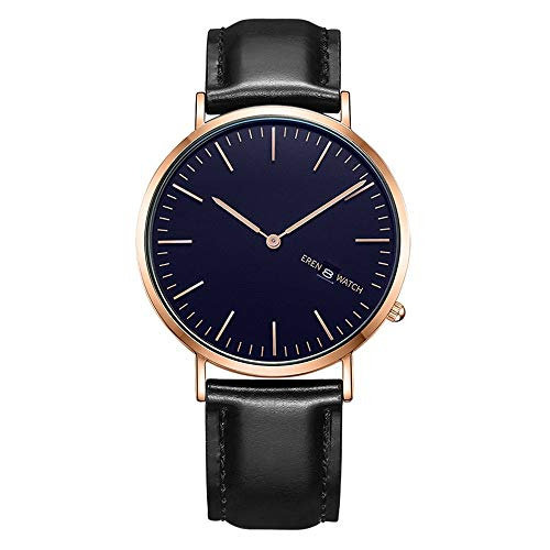Rebily 2021 Herrenuhr Männer All Match Sapphire Uhr Trend Student Calendar Quarz Herrenuhr 30at Tiefwasserdicht Schwarz, Gold (Color : Schwarz)