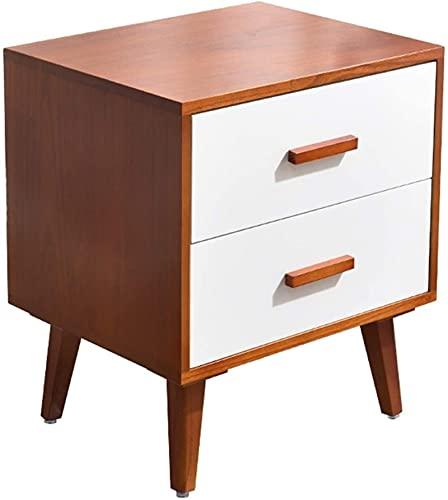 Bedside Table Mesa de centro nórdico con 2 cajones y 4 patas de madera maciza, mesa auxiliar cuadrada para muebles de dormitorio (color: A, tamaño: 40 cm)