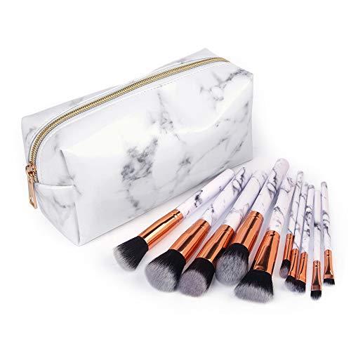 Make-up Pinsel Set,Make-up Pinsel,Beauty Reisen Kosmetiktasche Mädchen Mode Multifunktion Make-up-Pinsel-Tasche 10 Make-up-Pinsel +1 Kosmetiktaschen (Weiß)