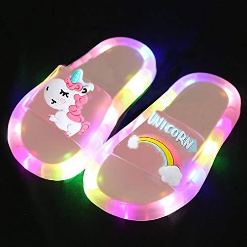 NC Arc-en-Ciel Licorne Pantoufles garçons et Filles L E D Lumineux été Chaussures de Plage pour Enfants bébé Tout-Petits Chaussons d'intérieur Doux Sandales pour Enfants