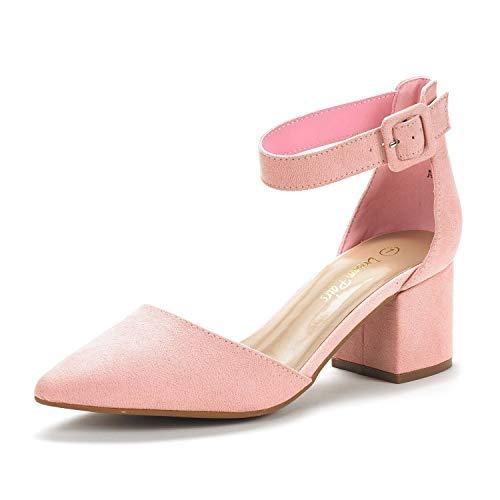 DREAM PAIRS Women's Annee Pink Suede Low Heel Pump Shoes - 9 M US