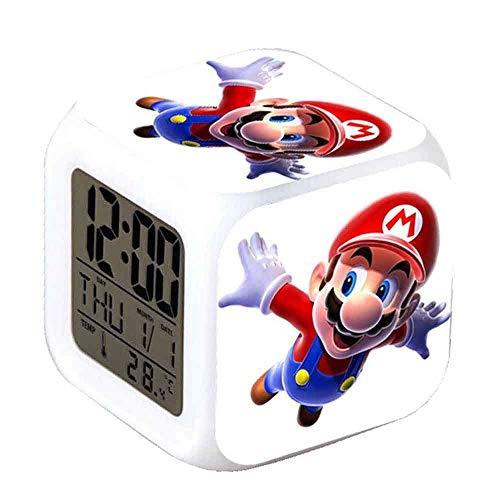 R-timer New Super Mario Anime Clock Alarm-LED-Licht Nachtlicht Zubehör für Teenager (B)