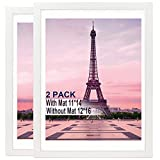 Picture Frame 12x16 Picture Frame Set of 2,Display Pictures 11x14 with Mat or 12x16 Without Mat, Multi Photo Frames Collage for Wall Display,Pre-Installed Wall Mounting Hardware White