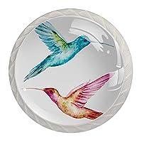 キャビネットノブ4個クリスタルガラスプルハンドル鳥の緑とピンク 家具のドアまたは引き出しを開く場合