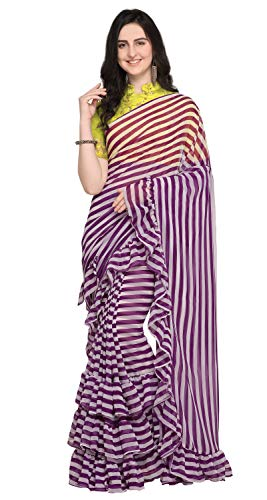 Sugathari Women's Blue Poly Georgette Striped Ruffle Saree