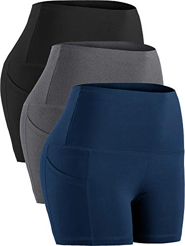 Cadmus Women's Tummy Control Workout Running Short Out Pocket,3 Pack,1016,Black & Grey & Navy Blue,Large