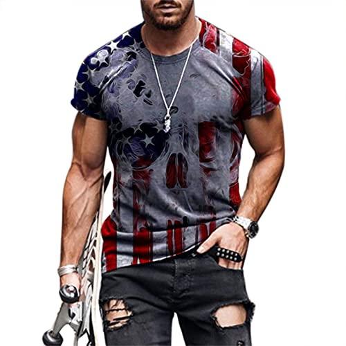 Camisetas con Estampado de águila con Bandera Americana para Hombre, Novedad de Verano, Camisetas de Manga...