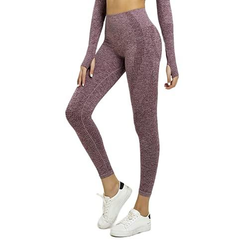 QTJY Leggings sin Costuras para Correr para Mujer, Pantalones de Yoga, Cintura Alta, Push-up, Ejercicio, Estiramiento, Gimnasio, Celulitis, Leggings J S