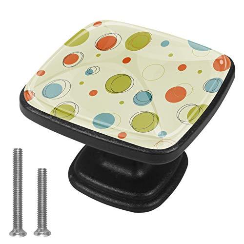 Paquete de 4 pomos cuadrados para cajón, diseño geométrico, color verde, azul y naranja