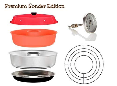Sun and Ice Omnia Spar-Set 4-teilig - Backofen Sonder Edition + Silikonform + Aufbackgitter + Profi Backofenthermometer -