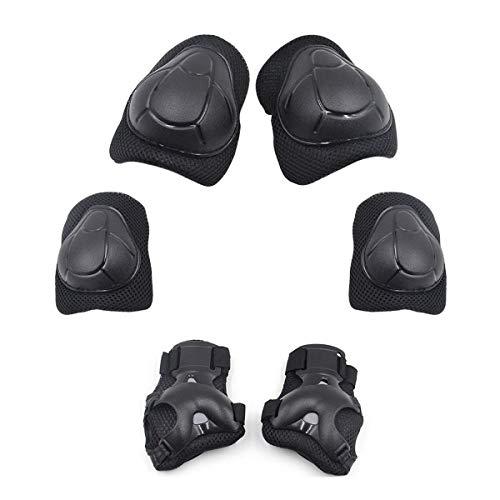 Knieschoner für Kinder, verstellbar, Schwarz, 6 in 1 Set, Schutzausrüstung für Ellenbogen