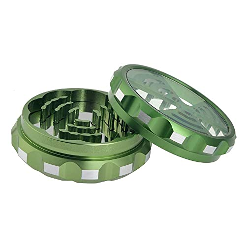 NeraNena 2-Piece Herb Grinder (2.3 Inch) Heavy Duty Aluminum with Clear Top and Removable Grinding Plate to Easily Remove Crushed Herb (Green)