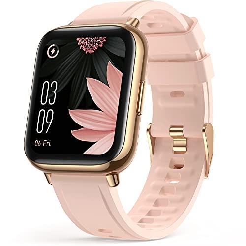 AGPTEK Smartwatch, 1,69 Zoll Armbanduhr mit personalisiertem Bildschirm, Musiksteuerung, Herzfrequenz, Schrittzähler, Kalorien, usw. IP68 Wasserdicht Fitness Tracker, für iOS und Android, Pink