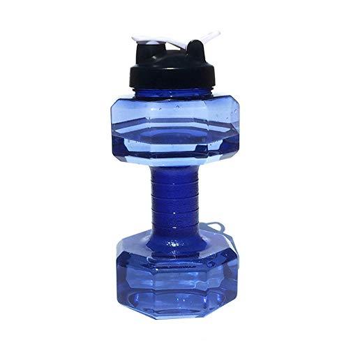 Wankd - Botella de agua con forma de mancuerna (2,5 L), gran capacidad, para fitness, deportes al aire libre, plástico, transparente, a prueba de fugas, sin BPA, tapa a prueba de fugas, azul