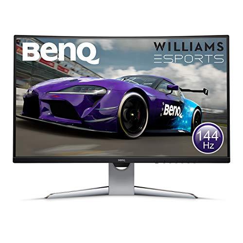 BenQ EX3203R 32 Pollici QHD 2K HDR 144 Hz Curved Gaming Monitor, 1800R, FreeSync 2.0, HDR, B.I. Sensor, HDMI, Display Port, USB-C, Grigio
