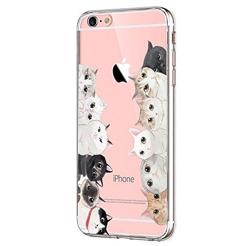 Kompatibel mit iPhone 6s/6 Hülle, iPhone 6S Schutzhülle Durchsichtig Silikon Silikonhülle Transparent TPU Bumper Schutz Handy Hülle Handytasche Handyhülle Schale Case Cover für iPhone 6 6S (Katzen)