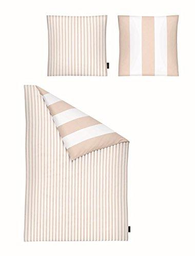 Gabriele Strehle Lenzuola-Set Strenesse Stripe, 100% Cotone, Nude/White, 155x220 / 80x80
