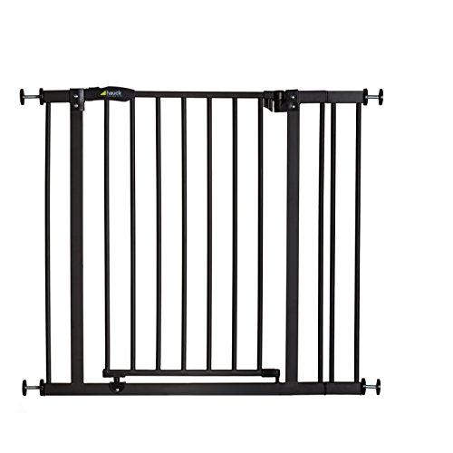 Hauck Close N Stop - Puerta de Seguridad con Extensión de 9 cm, para Puertas y Escaleras 75-80cm, sin Agujeros, Combinable con Y-Spindel para Barandillas, Hierro, Charcoal (gris)