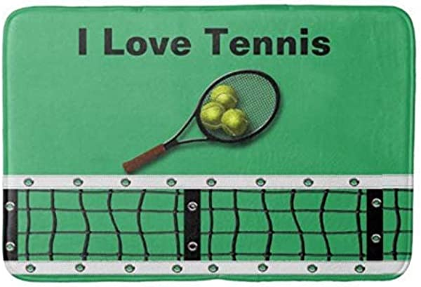 GTdgstdsc I Love Tennis With Racquet And Balls Absorbent Super Cozy Bathroom Rug Doormat Welcome Mat Indoor Outdoor Bath Floor Rug Decor Art Print With Non Slip Backing 30 L X 18 W Inches