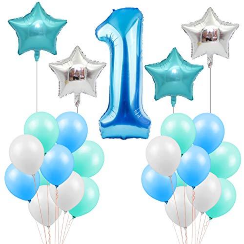 Tumao Palloncino Numero 1 - 100CM 1 Palloncino Blu per Compleanno Bambino Compleanno Battesimo Baby Shower Palloncino Lattice Palloncino Stella Blu Palloncino Stella Bianco