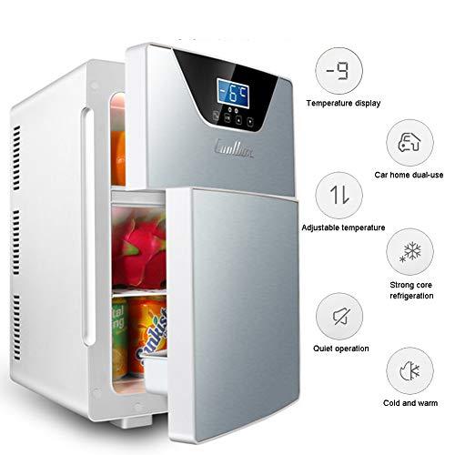 LHY Getränkekühler - Minibar, Doppeltür DREI-Kern-Kühl- Und Heizsystem Kühlschrank, -9-65°C, Nur 30 Db, 20 L, Umweltfreundlich [Energieklasse A+],Silber