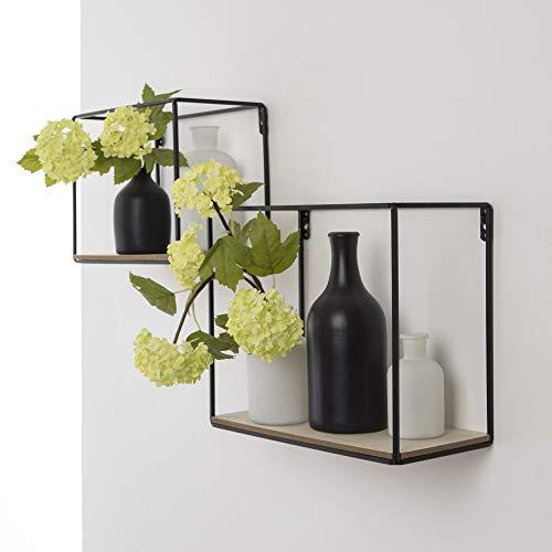 Duraline Storage Box Set Regalset 2 er Bücherregal Wandregal Metall, Holz | schwarz matt | 25 x 30 x 14 cm, 19,5 x 25 x 14 cm