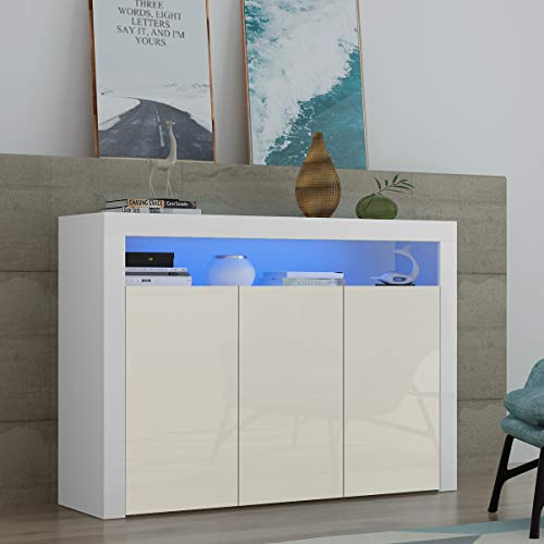 Sideboard 3 Doors Cabinet Cupboard Matt Body and High Gloss Doors RGB LED Light Large Display Cabinet Storage Unit for Living Room Bedroom(White)