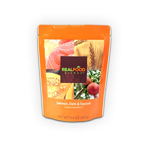 Real Food Blends Salmon, Oats & Squash Pureed Blended Meal, 9.4 oz Pouch (Pack of 12 Pouches)
