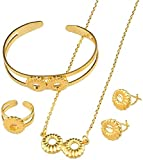 niuziyanfa Co.,ltd Collar Conjuntos de Joyas para bebés Collar de Color Dorado/Pendientes/Anillo/Brazalete para niños Niños etíopes Regalo de África y los árabes