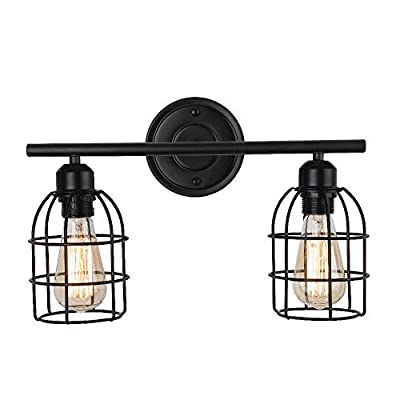 2-Light Black Vanity Light,Create for Life Rustic Farmhouse Bathroom Lighting Metal Cage Wall Sconce for Bathroom Dressing Table Mirror Cabinets Vanity Table