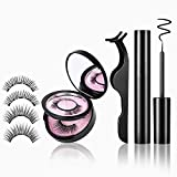 Magicfly Magnetic Eyeliner and Lashes Kit 4 PCS Full Dioverde False Magnetic Eyelashes with Eye Liner Natural Cosmetics Magnetic Lashliner Set Magnet Eyelashes With Mirror and Tweezers