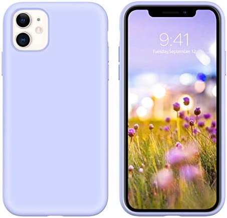 GUAGUA iPhone 11 Case Liquid Silicone Soft Gel Rubber Slim Lightweight Microfiber Lining Cushion Texture Cover Shockproof Protective Anti-Scratch Phone Case for iPhone 11 6.1-inch 2019 Lilac Purple