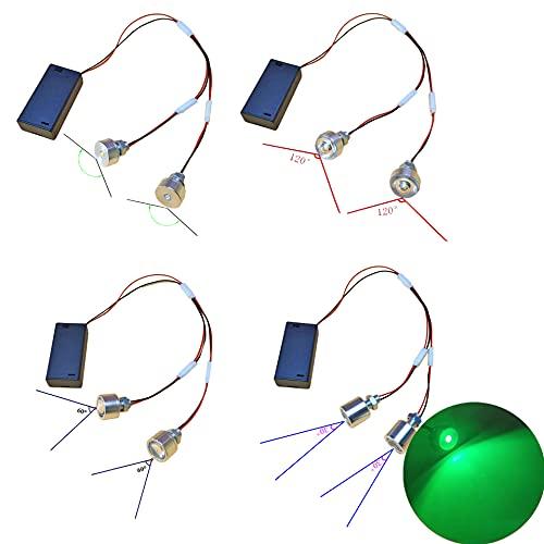 malyituk 4 piezas 6 colores 2 cabeza lámpara LED bombilla alta potencia 3V3W fuente de luz linterna inalámbrico portátil DIY para cosplay casco DIY modificación tiras de luz superhéroe (verde)
