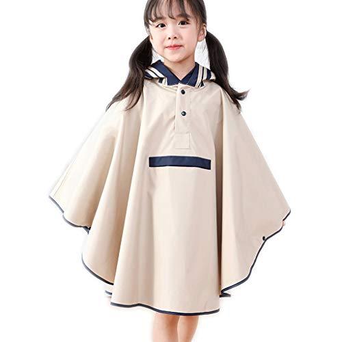 Waterbestendig Regenjas M/L van kinderen mantel regenjas jongens en meisjes met een zak regenjas poncho Mooi (Color : Beige, Size : L)