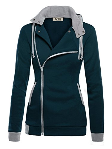 DJT Womens Oblique Zipper Slim Fit Hoodie Jacket Large Navy
