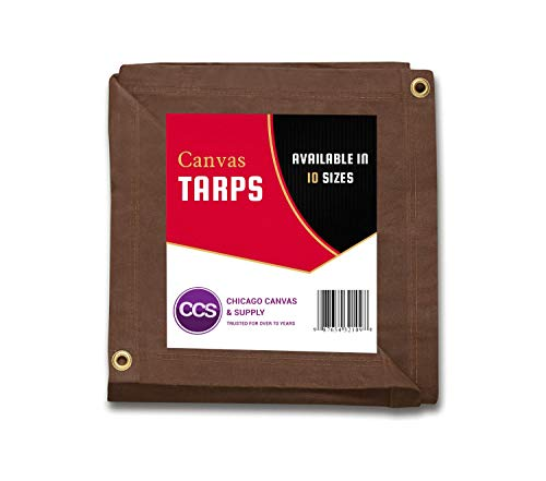 CCS CHICAGO CANVAS & SUPPLY Heavy Duty Waterproof, Rustproof Grommets, Industrial & Commercial Use Canvas Tarp, Brown, 7 by 9 Feet