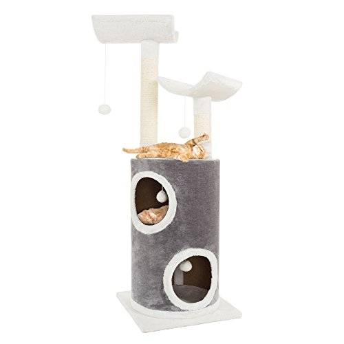 PETMAKER Cat Tree 5 Tier Double Decker Condo 4 Toys 2 Scratching Posts, 44.75', Gray & White