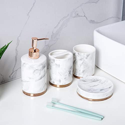 Schwänlein Badezimmer Set, 4-teiliges Badzubehör aus Keramik Seifenspender, WC Bürste, Seifenschale und Zahnputzbecher Silber (Gold)
