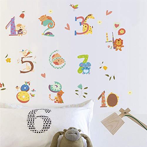 YCEOT Cartoon dier nummer alfabet muur Stickers voor kinderen kamer Decor muur Art Decal School Decor