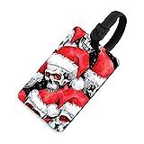Etiqueta de equipaje ajustable para hombre, etiquetas identificadoras de bolsa con cubierta de privacidad, accesorios de etiqueta de viaje para maleta, avión, mochilas, calavera en sombrero de Santa