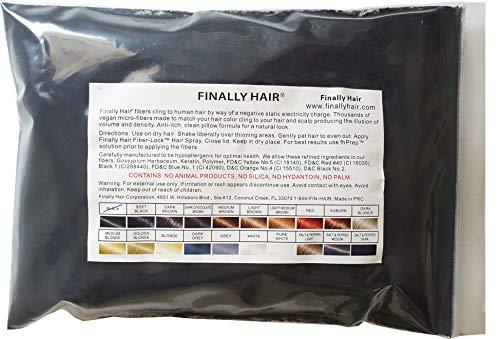 Finally Hair Fibers Refill Bag - 56 Grams of Premium Hair Loss Concealer in a Refill Bag (Black)