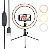 Ring Light 10' Selfie Light Ring with Tripod Stand & Phone Holder & Remote Control 3000-5500K 3 Modes and 10 Brightness LED Desktop Selfie Ring Light for YouTube Video/Live Stream/Makeup/Photography