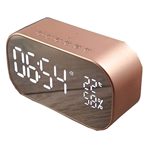 Guomao PTH - 305 Multifunktions Wireless Bluetooth Spiegel Desktop Wecker Haushaltsdekoration (Farbe : Rose Gold)