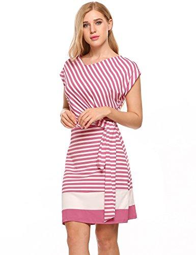 Meaneor Damen Gestreiftes Kleid Sommerkleider Striped Stretch Jersey Kurz Ärmel Etuikleid in Figurbetonter Passform (L, Rosa&Weiß)
